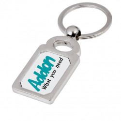 Brandable Bottle Opener Keyring - Standard Shaped (White & Metal)
