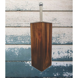 Pine Toilet Brush Holder. Imbuia stain shown. Perfect for your hotel bathroom.