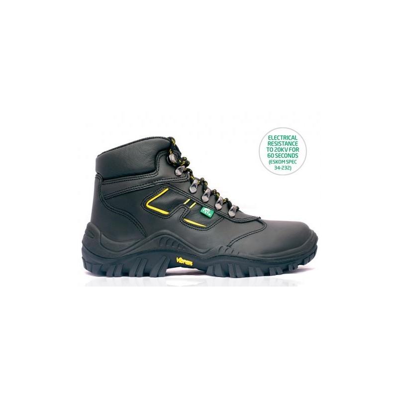 BOVA Drogue Vibram Safety Boot Black and Yellow