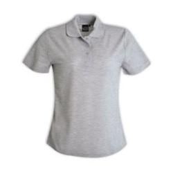 Ladies Pique Knit Polo - Melange Plain White
