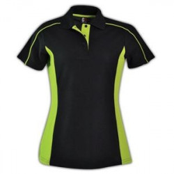 Ladies Stratus Polo - Black & Lime