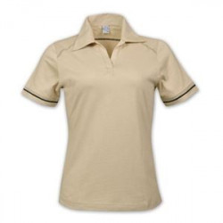 Ladies Flat Piping Polo - Beige