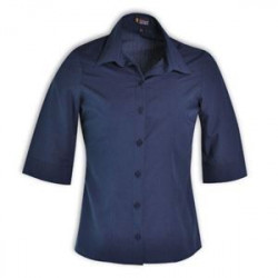Ladies Icon Woven Shirt - 3/4 Sleeve - Navy