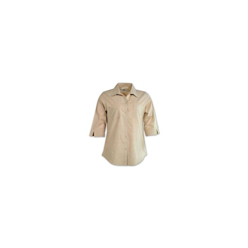 Ladies Woven Shirt - 3/4 Sleeve - Beige - Workwear