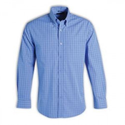 Shirt - Check Long Sleeve - Brandable Uniform - Blue