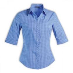 Blouse - Check 3/4 Sleeve - Brandable Uniform  - Blue