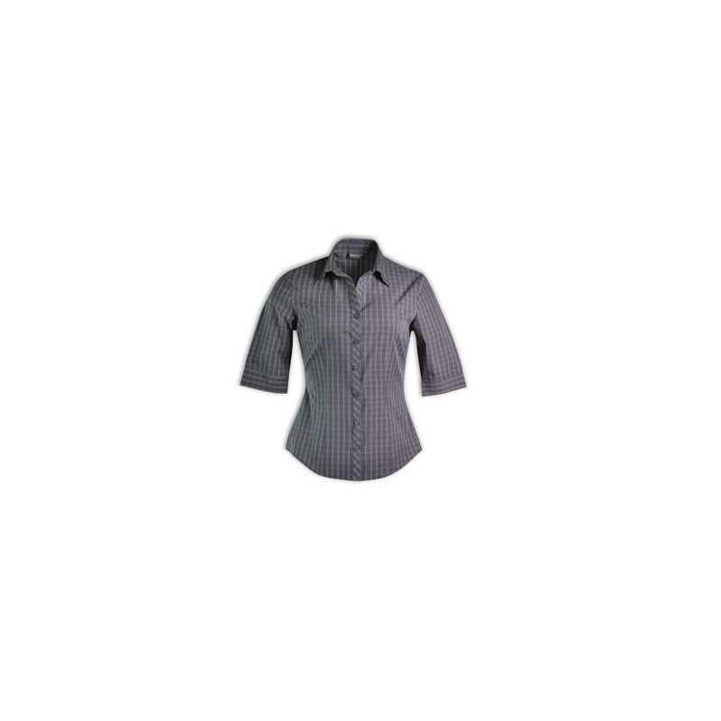 Blouse - Check 3/4 Sleeve - Brandable Uniform  - Grey