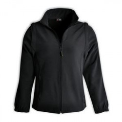 Ladies Zip-Off Sleeve Softshell Jacket - Black
